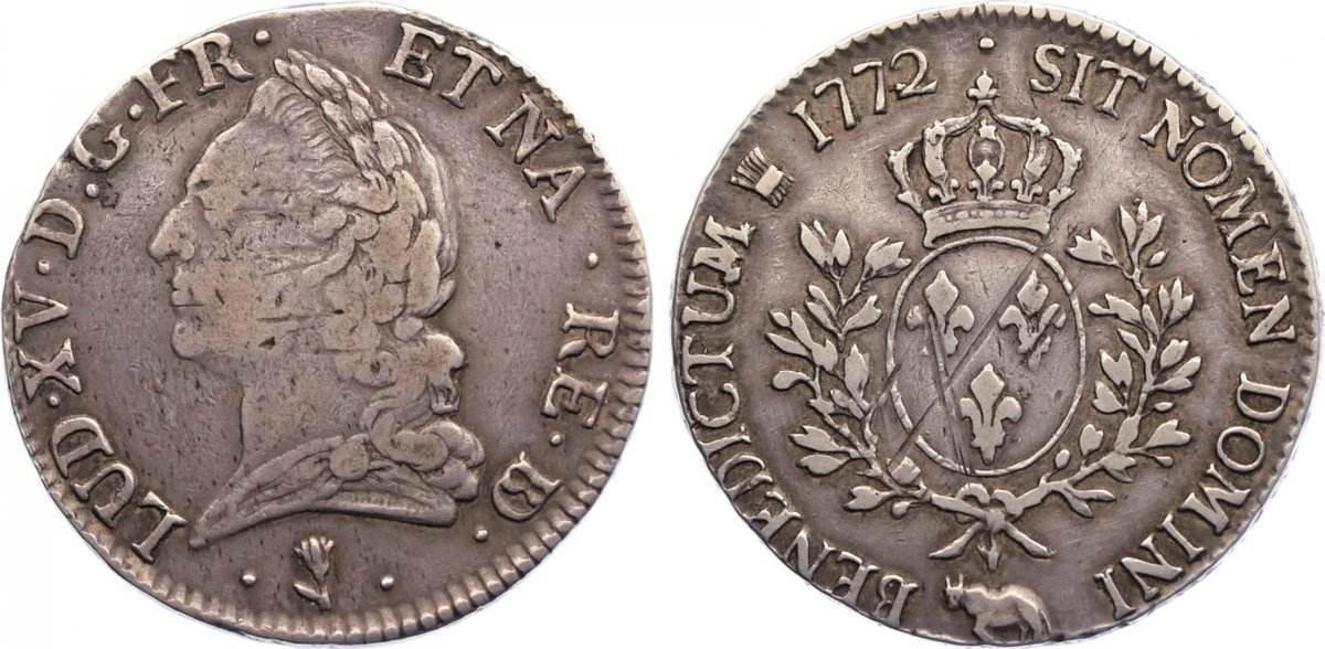 Écu de Béarn à la vieille tête 1772 1772 Frankreich Ludwig XV. 1715-1774. justiert, sehr schön