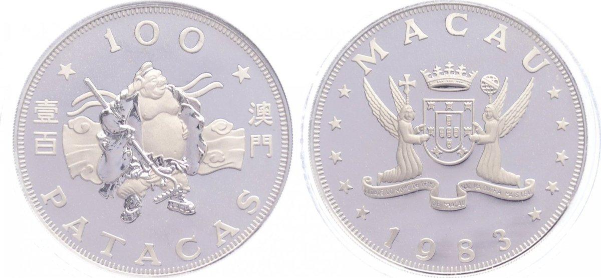 100 Patacas 1983 Macau portugiesische Kolonie 1887-1999. Polierte Platte in Originalkapsel