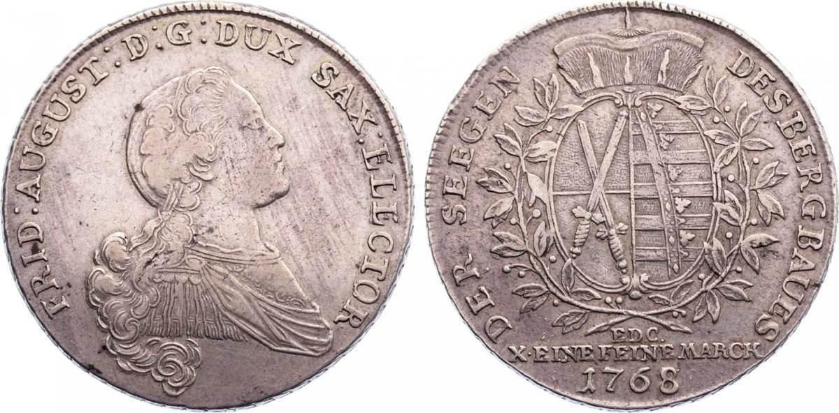Ausbeutetaler 1768 Sachsen-Albertinische Linie Friedrich August III. 1763-1806. sehr schön
