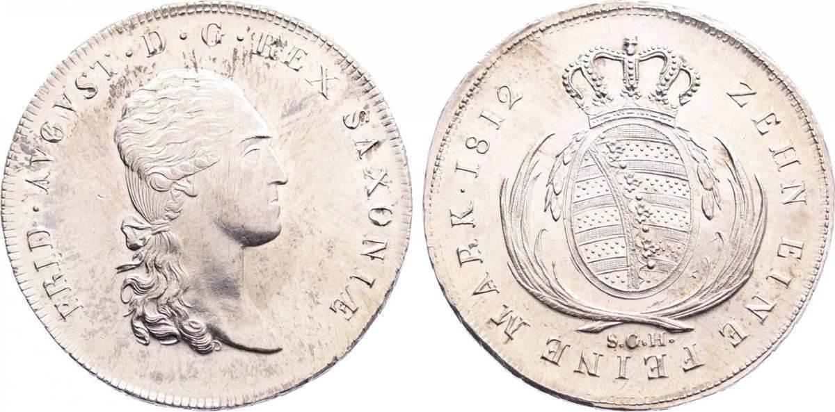 Taler 1812 Sachsen-Albertinische Linie Friedrich August I. 1806-1827. leicht justiert, fast Stempelglanz