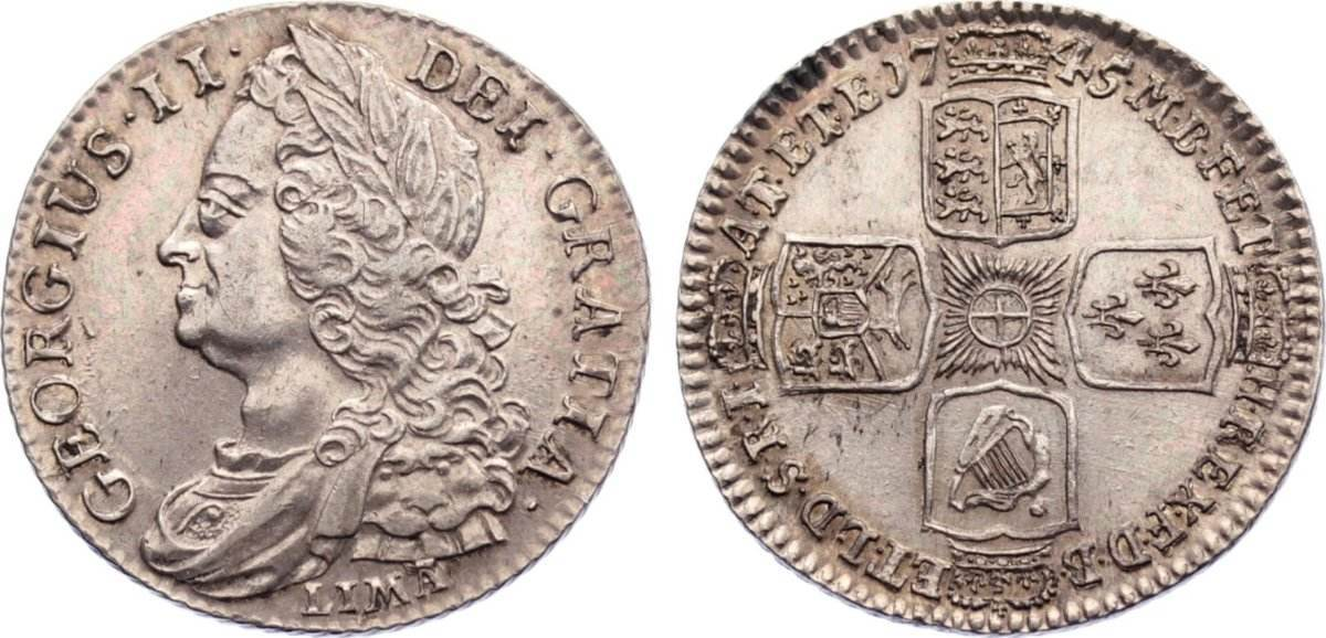 Shilling 1745 Großbritannien George II. 1727-1760. vorzüglich