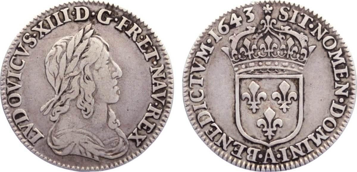 1/12 Écu, deuxième poincon de Warin 16 1643 A Frankreich Ludwig XIII. 1610-1643. knapp sehr schön