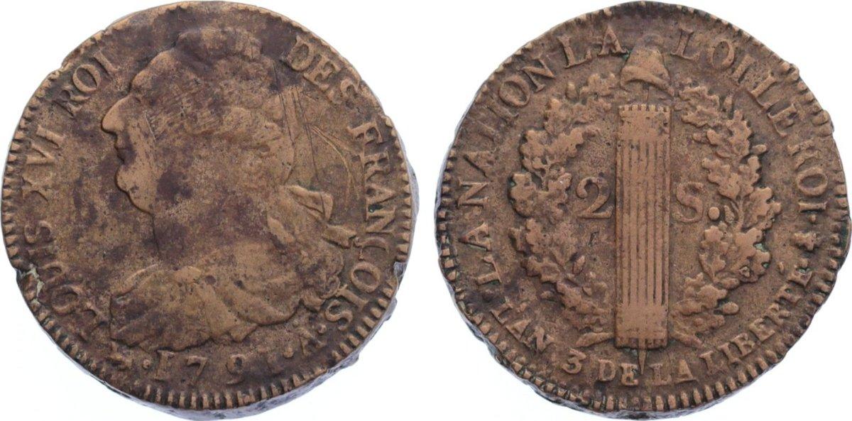 Cu 2 Sols 1791 A Frankreich Ludwig XVI. 1774-1793. Randfehler, fast sehr schön / sehr schön
