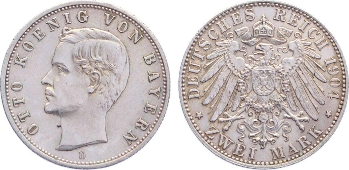 2 Mark 1904 D Bayern Otto 1886-1913. sehr schön - vorzüglich