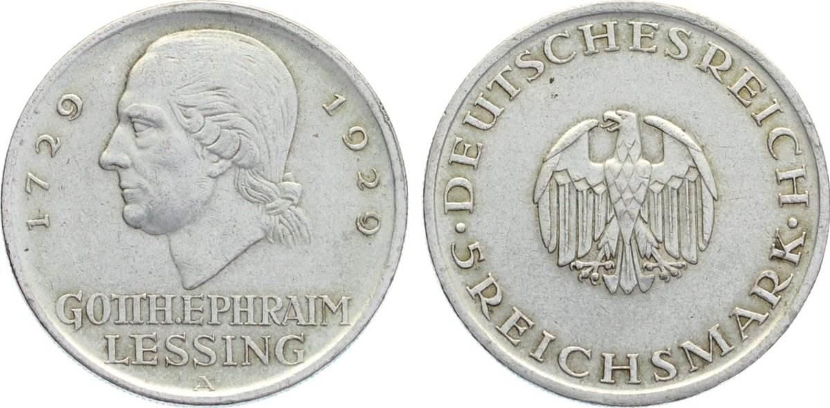 5 Reichsmark 1929 A Weimarer Republik Gedenkmünzen 1918-1933. sehr schön