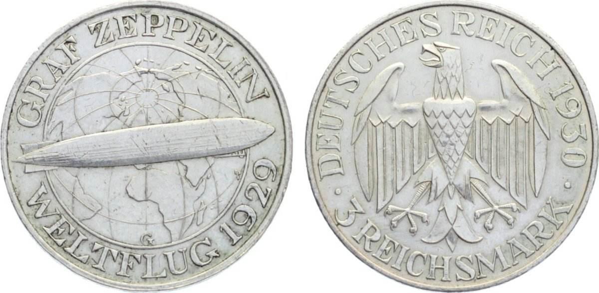 3 Reichsmark 1930 G Weimarer Republik Gedenkmünzen 1918-1933. sehr schön - vorzüglich