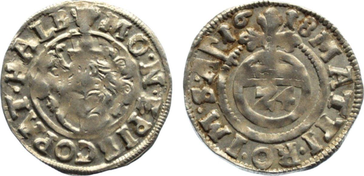 1/24 Taler 1618 Halberstadt, Domkapitel l. Prägeschwäche, sehr schön - vorzüglich
