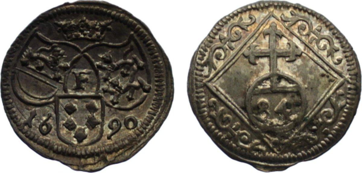 1/84 Taler 1690 Hohenlohe-Schillingsfürst Ludwig Gustav 1656-1697. kl. Stempelfehler, prägefrisch