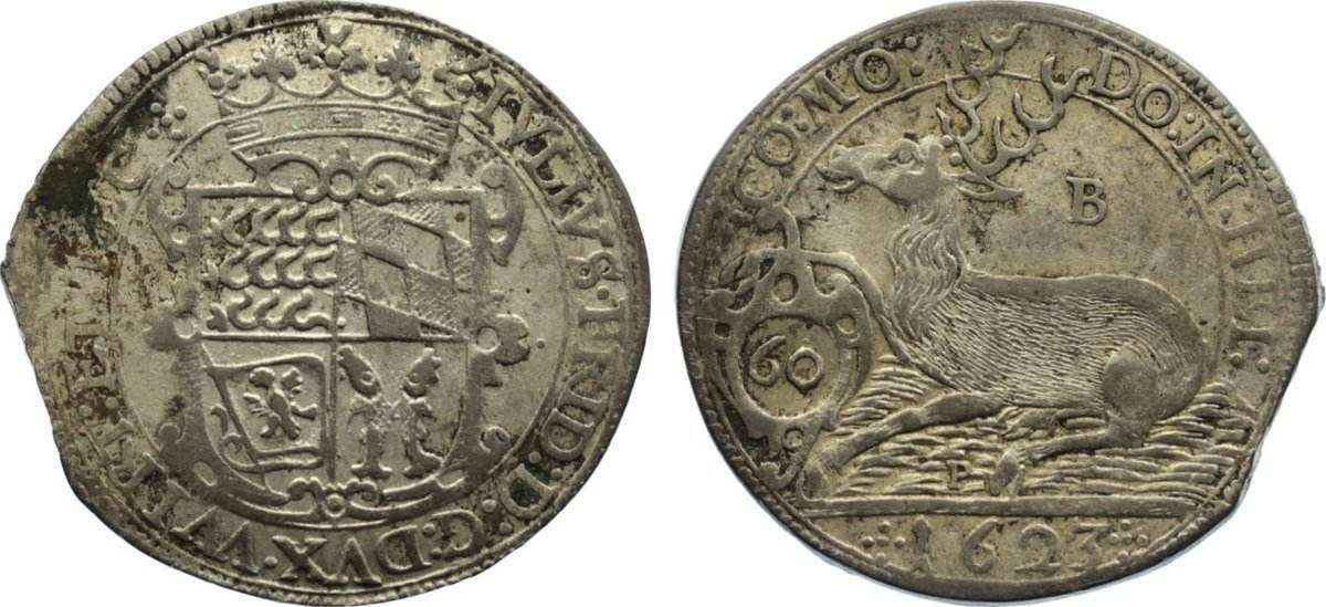 Kipper Gulden zu 60 Kreuzer 1623 B Württemberg-Weiltingen Julius Friedrich 1617-1635. Zainende, kl. Belagreste, sehr schön