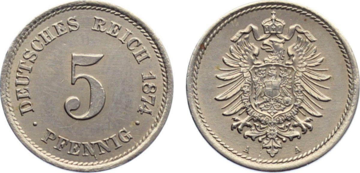 5 Pfennig 1874 A Kleinmünzen fast vorzüglich