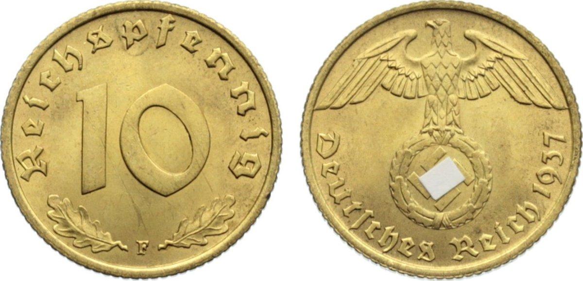 10 Reichspfennig 1937 F Drittes Reich Kursmünzen 1933-1945. kl. Kratzer, vorzüglich - Stempelglanz
