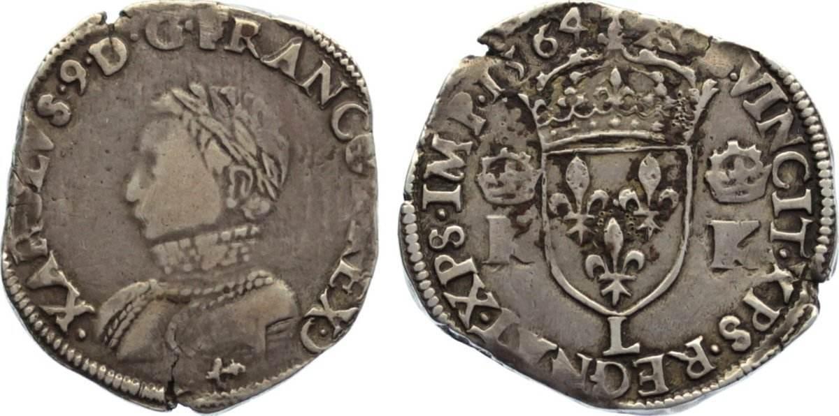 Teston 1564 L Frankreich Karl IX. 1560-1574. Randfehler, schön - sehr schön