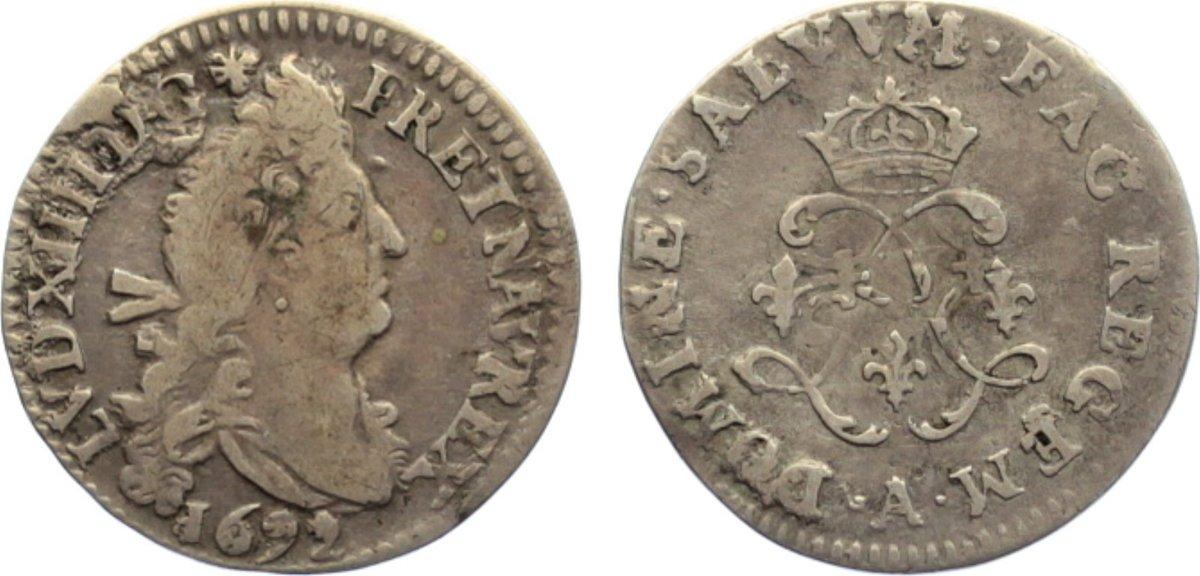 4 Sols aux 2 L 1692 A Frankreich Ludwig XIV. 1643-1715. fast sehr schön