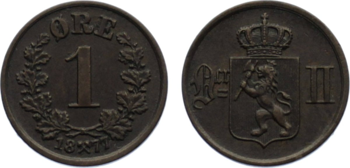 Cu 1 Öre 1 1877 Norwegen Oskar II. 1872-1905. fast vorzüglich