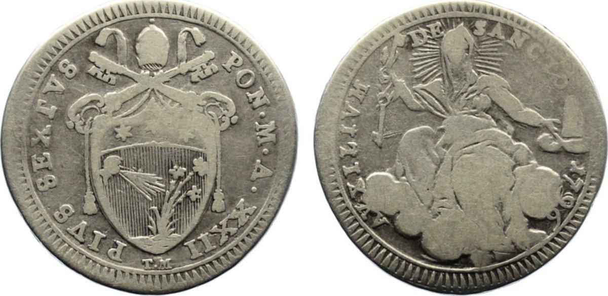 Quinto di Scudo (1/5 Scudo) 1796 Italien-Kirchenstaat Pius VI. (Giovanni Angelo Braschi) 1775-1799. schön
