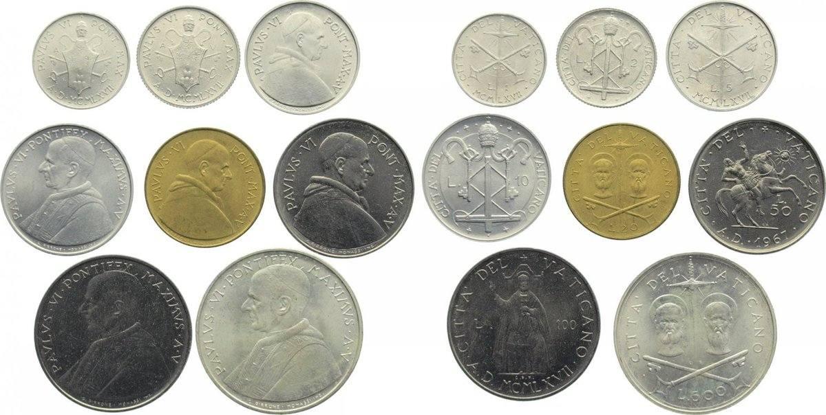 1 Lira 1967 Vatikan Paul VI. 1963-1978. prägefrisch