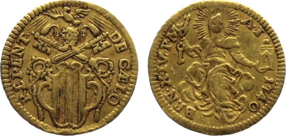 Mezzo Zecchine 1740 Italien-Kirchenstaat Benedict XIV. 1740-1758. Gold, selten, sehr schön