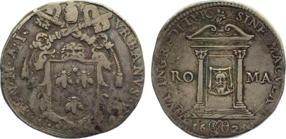Testone 1625 Italien-Kirchenstaat Urban VIII. (M.Barberini) 1623-1644. fast sehr schön