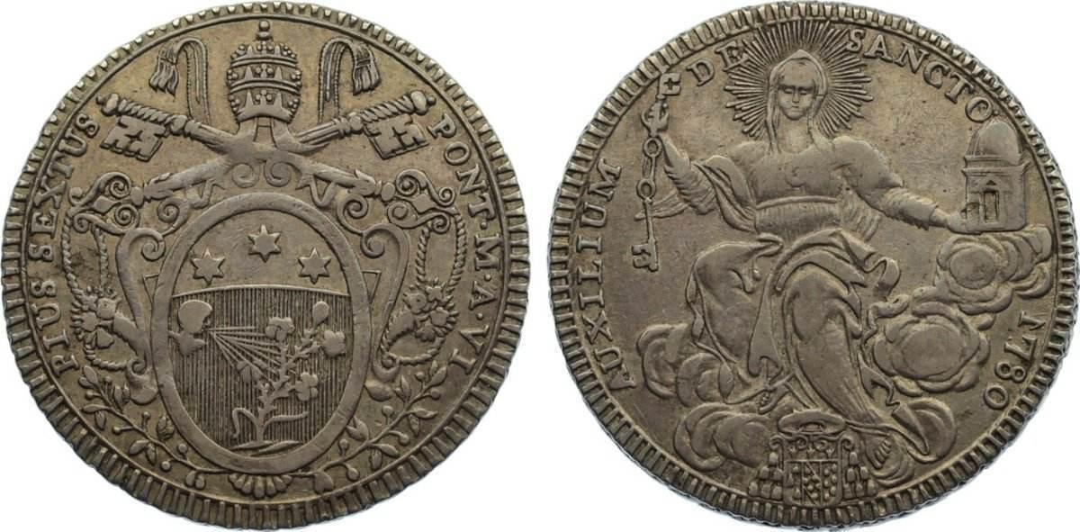 Scudo 1780 Italien-Kirchenstaat Pius VI. (Giovanni Angelo Braschi) 1775-1799. sehr schön