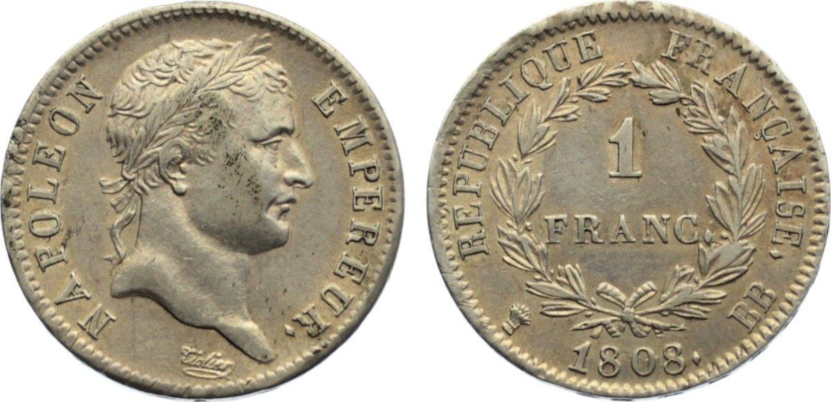 1 Franc 1808 BB Frankreich Napoleon I. 1804-1814, 1815. fast vorzüglich