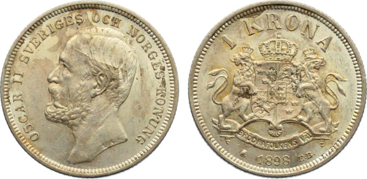 Krone 1898 EB Schweden Oskar II. 1872-1907. fleckige Patina, vorzüglich - Stempelglanz