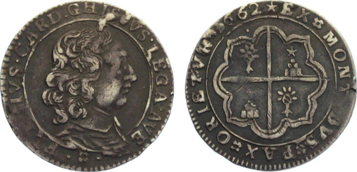 Luigino 1662 Italien-Kirchenstaat Alexander VII. 1655-1667. dunkle Patina, sehr schön