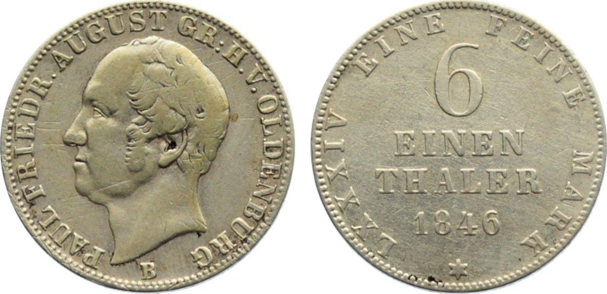 1/6 Taler 1846 B Oldenburg Paul Friedrich August 1829-1853. fast sehr schön