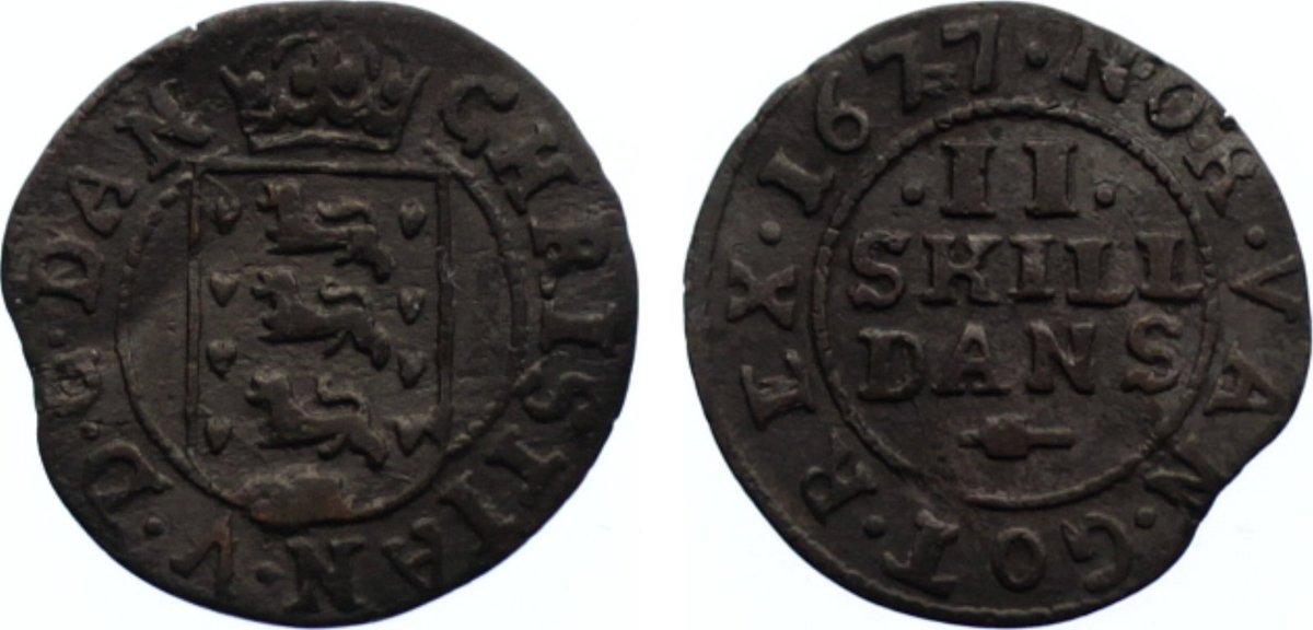 2 Skilling 1677 Dänemark Christian V. 1670-1699. sehr schön