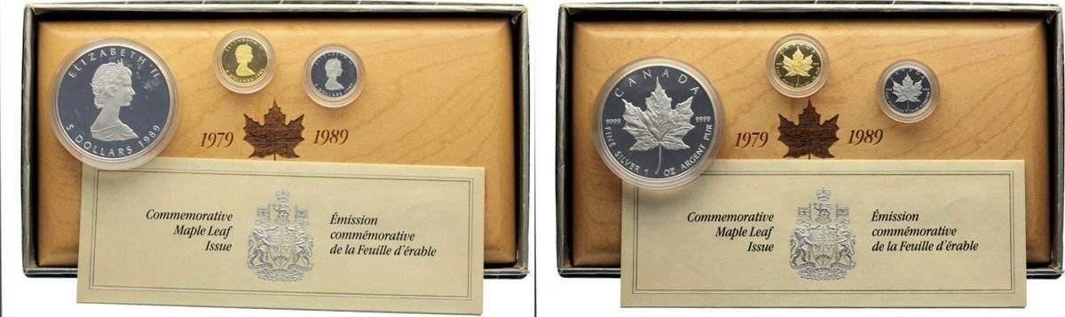 Set mit drei Münzen zu je 5 Dollars 1 1989 Kanada Polierte Platte
