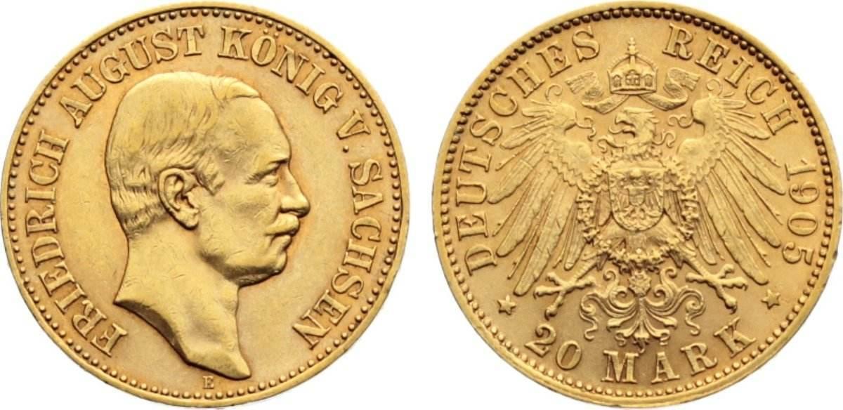 20 Mark Gold 1905 E Sachsen Friedrich August III. 1904-1918. min. Randfehler, fast vorzüglich