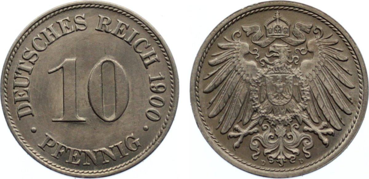 10 Pfennig 1900 D Kleinmünzen zaponiert, vorzüglich