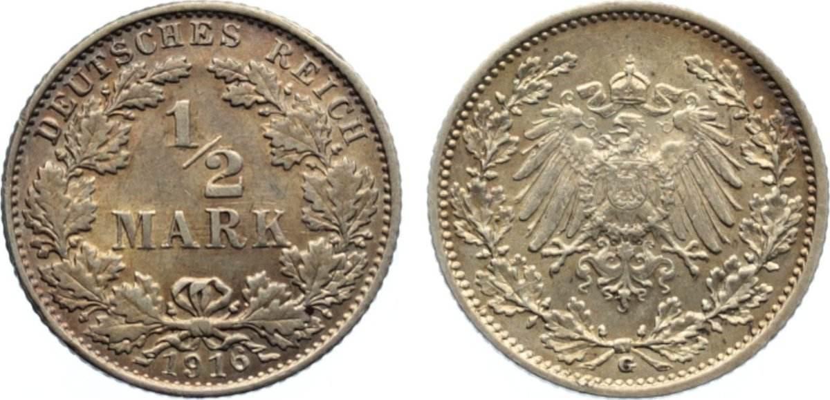 1/2 Mark 1916 G Kleinmünzen vorzüglich +