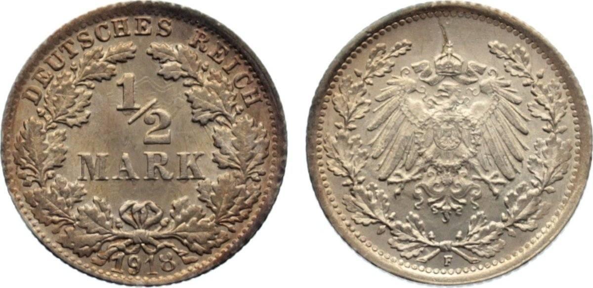 1/2 Mark 1918 F Kleinmünzen vorzüglich - Stempelglanz