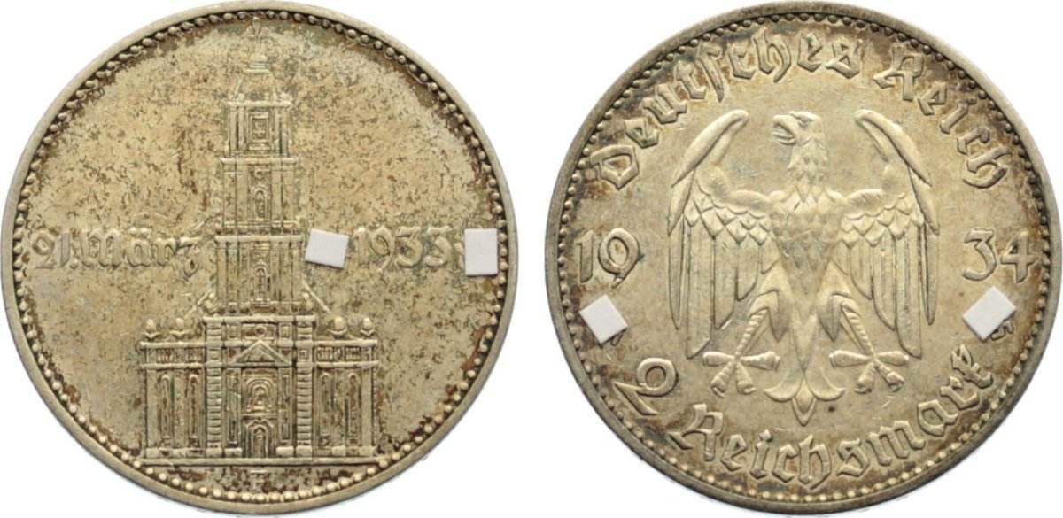 2 Reichsmark 1934 F Drittes Reich Gedenkmünzen 1933-1945. Patina, kl. Kratzer, sehr schön +