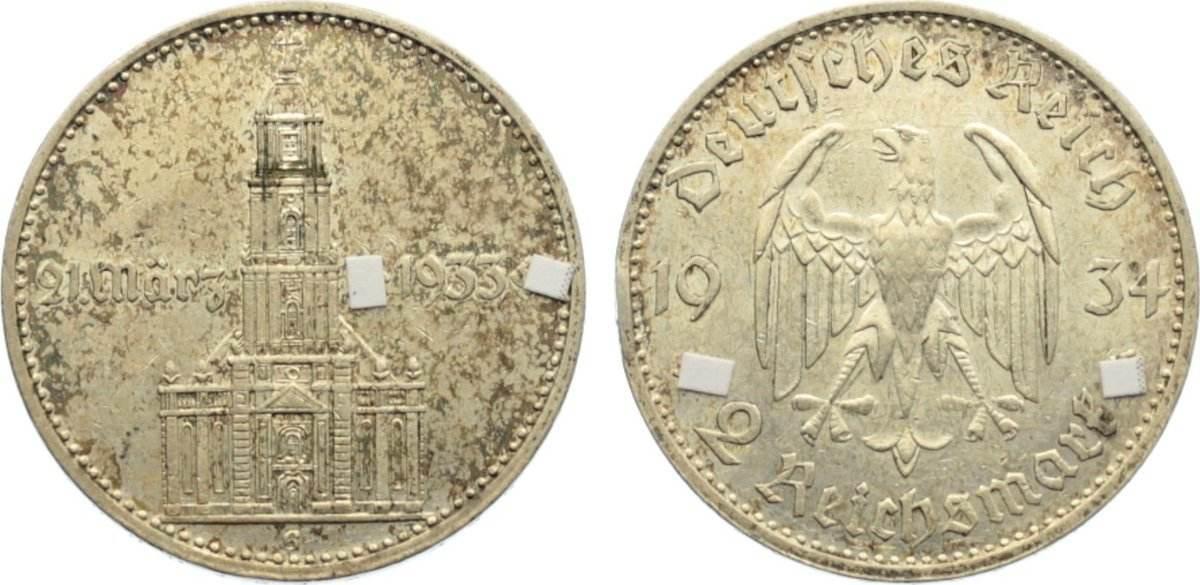 2 Reichsmark 1934 G Drittes Reich Gedenkmünzen 1933-1945. kl. Kratzer, sehr schön +