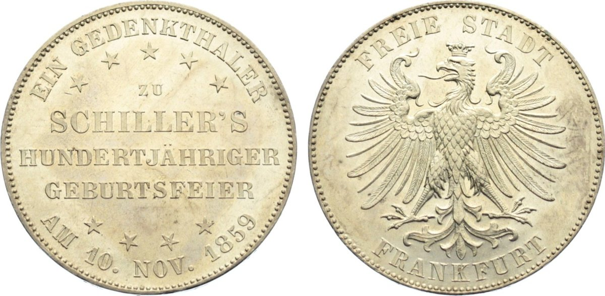 Taler 1859 Frankfurt, Stadt kl. Kratzer, fast Stempelglanz