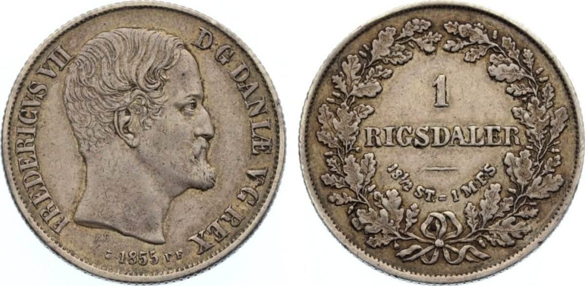 Rigsdaler 1855 FF Dänemark Frederik VII. 1848-1863. sehr schön