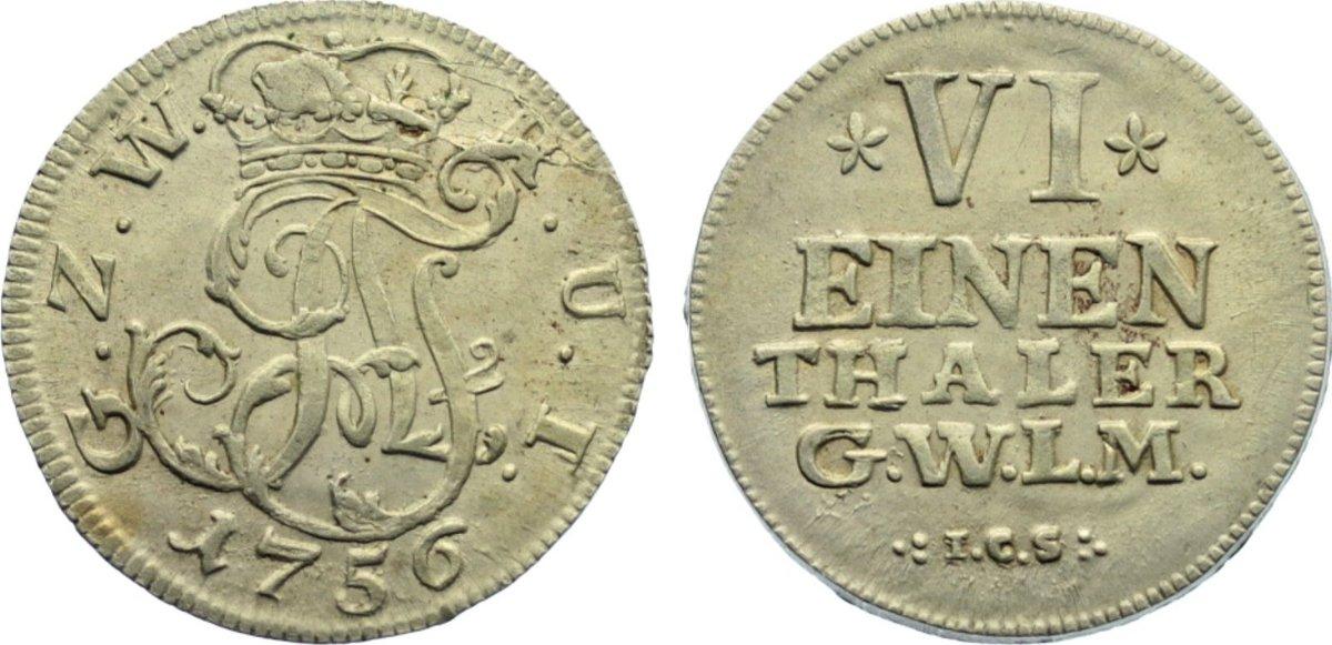 1/6 Taler 1756 Wied-Neuwied Johann Friedrich Alexander 1737-1791. vorzüglich +