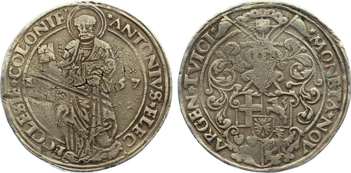 Taler 1557 Köln, Erzbistum Anton von Schauenburg 1556-1558. Rand leicht beschliffen, Kratzer, sehr schön