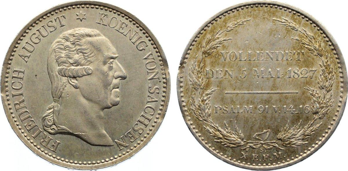 Taler 1827 S Sachsen-Albertinische Linie Friedrich August I. 1806-1827. kl. Schrötlingsfehler am Rand, kl. Kratzer, vorzüglich