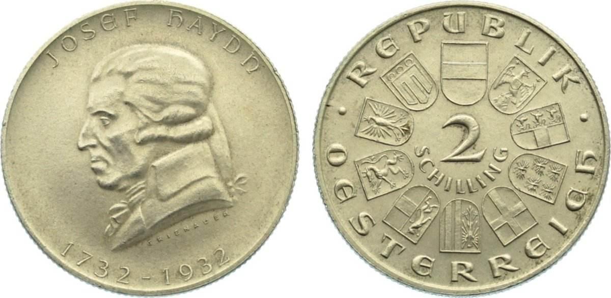 2 Schilling 1932 Österreich von - Erste Republik 1918-1938. vorzüglich