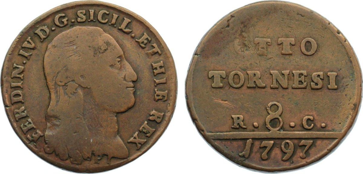 Cu 8 Tornesi 1797 P Italien-Neapel und Sizilien Ferdinand IV. 1759-1799. fast sehr schön