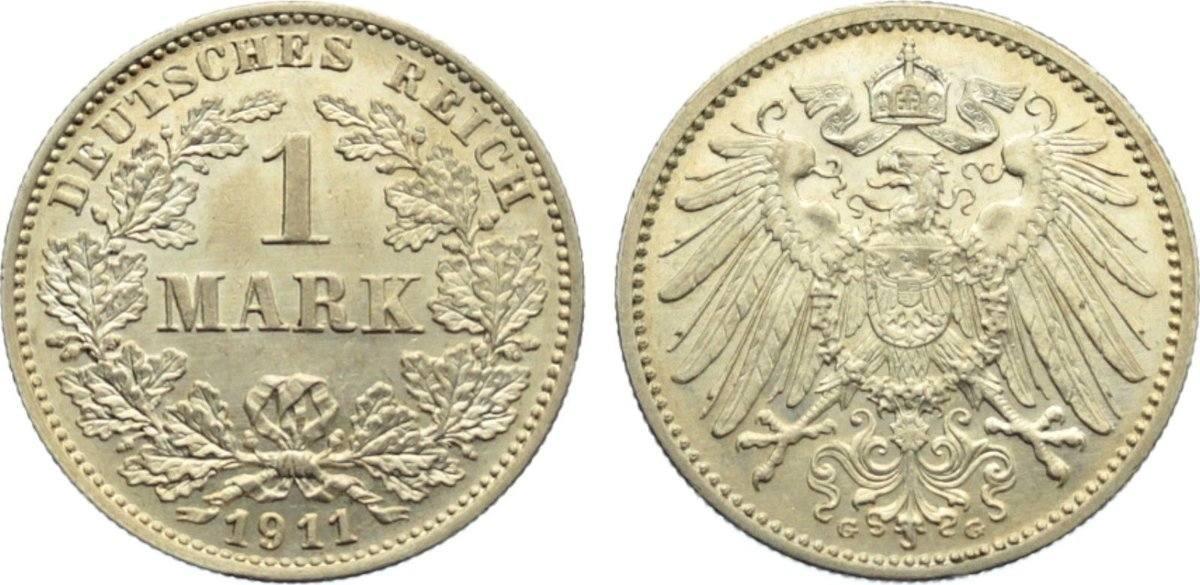 1 Mark 1911 G Kleinmünzen kl. Kratzer, vorzüglich