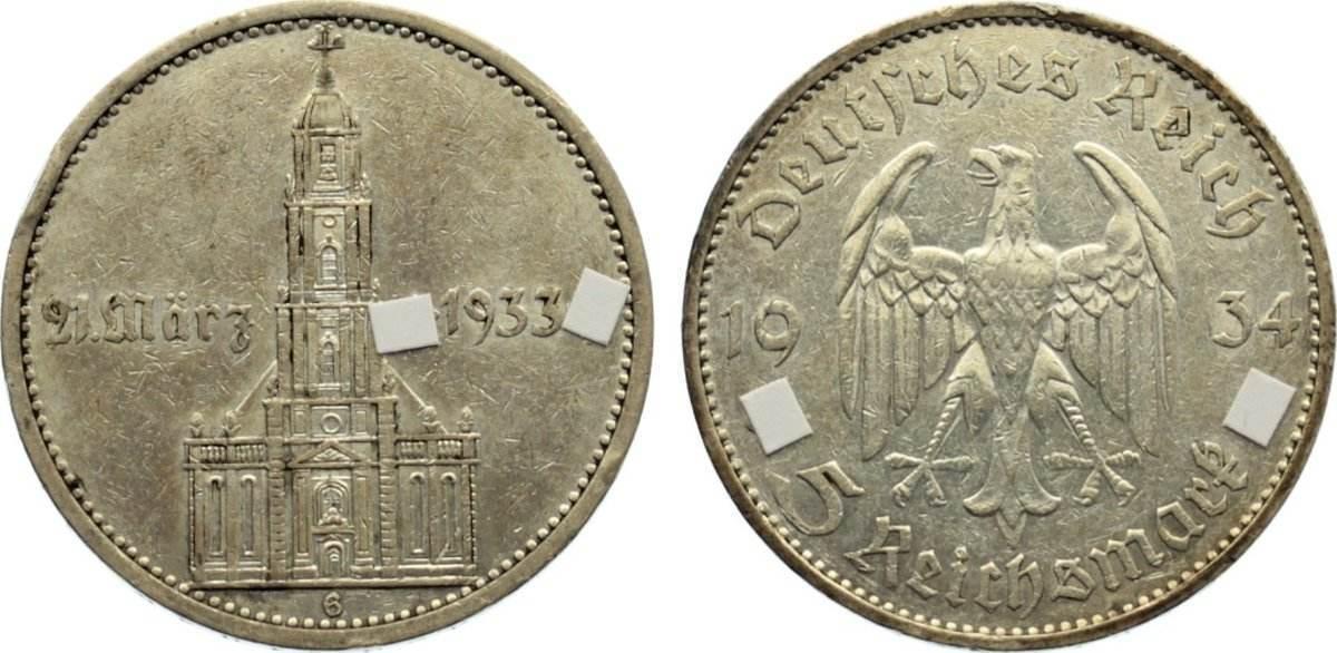 5 Reichsmark 1934 G Drittes Reich Kursmünzen 1933-1945. kl. Randfehler, sehr schön