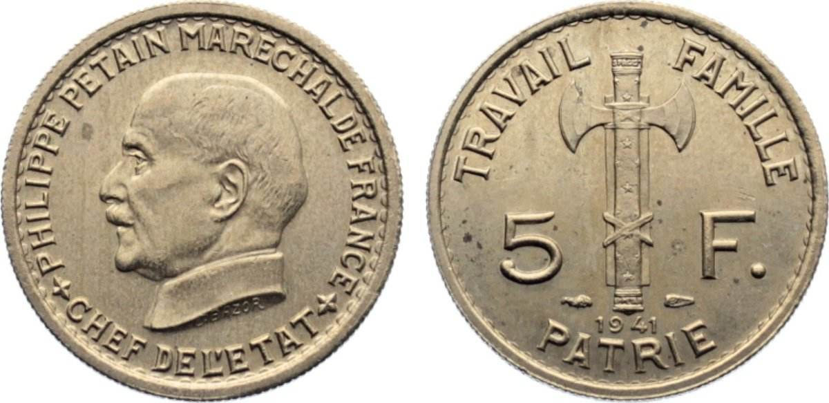 5 Francs 1941 Frankreich État Francais 1940-1944. kl. Flecken, vorzüglich