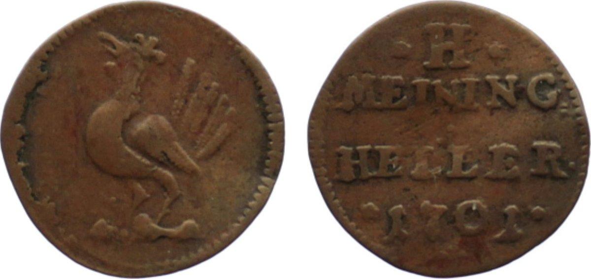 Cu Heller 1701 Sachsen-Meiningen Bernhard 1680-1706. leicht gewellt, sehr schön