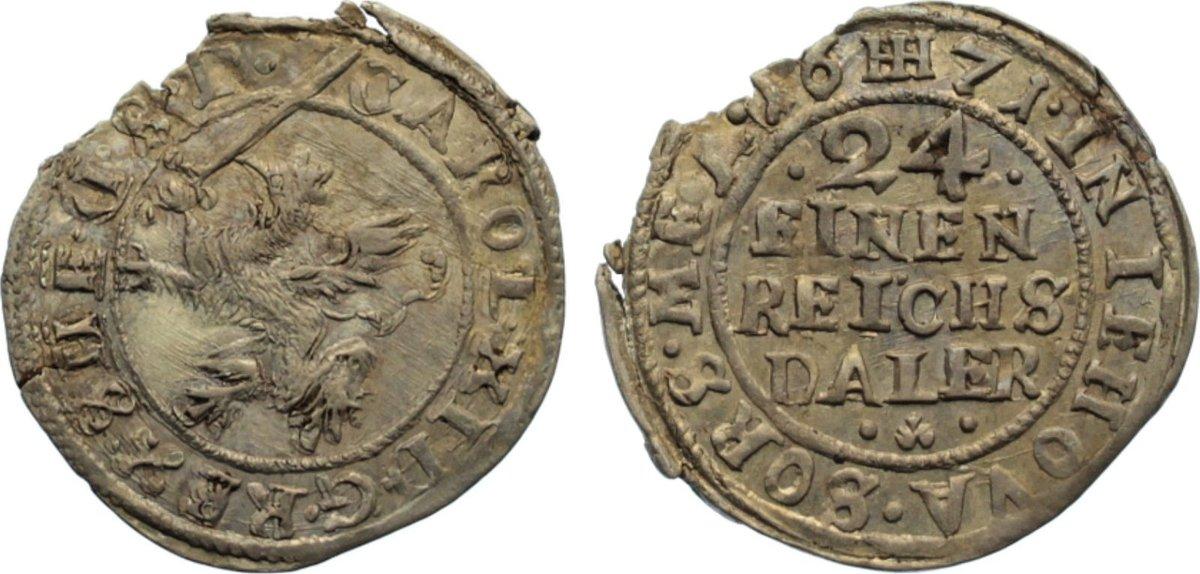 1/24 Taler 1671 Pommern-unter schwedischer Besetzung Karl XI 1660-1697. Randfehler, fast vorzüglich / vorzüglich