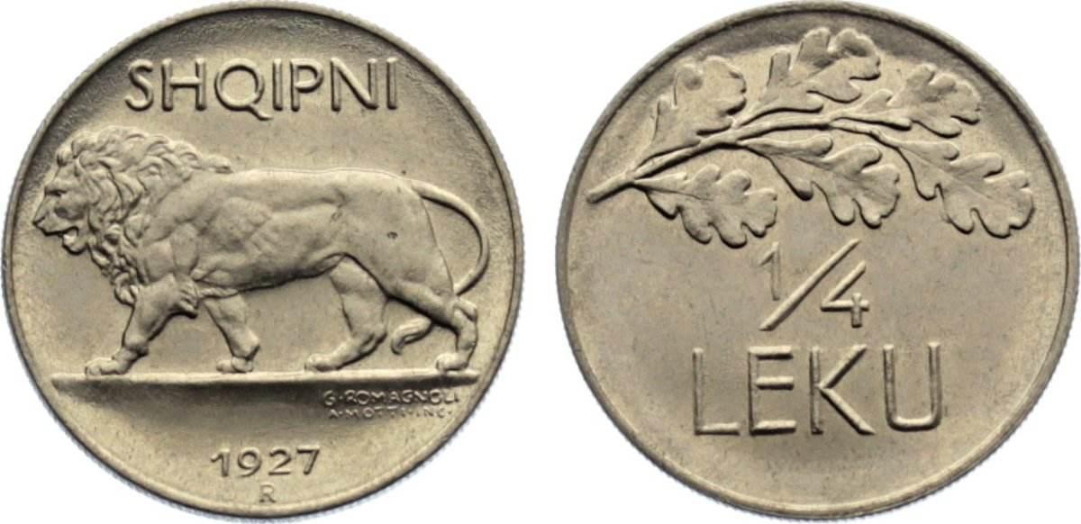 1/4 Leku 1927 R Albanien Ahmet Zogu, Präsident 1925-1928. Stempelglanz