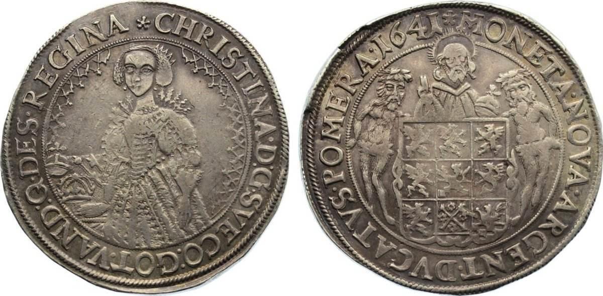 Taler 1641 Pommern-unter schwedischer Besetzung Christina 1637-1654. sehr schön +