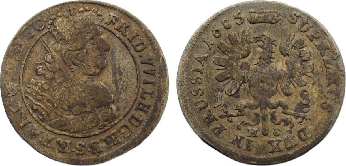 18 Gröscher 1 1685 HS Brandenburg-Preußen Friedrich Wilhelm 1640-1688. Patina, sehr schön